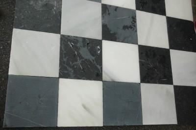 Dallage marbre blanc ou noir ou en damier