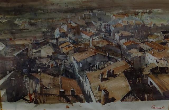 Les toits de Cahors Aquarelle